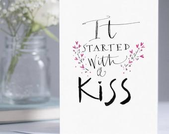 With a Kiss card - romantic card - decorative card - anniversary card - Valentine's card - couples' card - wedding card - love - partnership