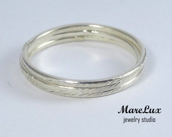 Set of 3 Very Thin Stacking Texture Silver Rings, Super Thin Rings, Tiny Stackable Rings, Little Stackers, Minimal Dainty Mini Silver Rings