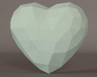 Printable DIY template. Paper heart.