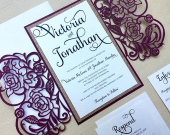 Laser Cut Gatefold Wedding Invitation - Rose Gold Glitter - Burgundy Wedding Invitation - Elegant Winter Wedding
