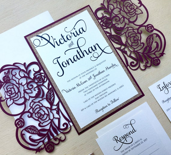 Laser cut gatefold wedding invitation rose gold glitter for Rose gold winter wedding invitations