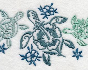 Sea Turtle Trio Embroidered Flour Sack Hand/Dish Towel