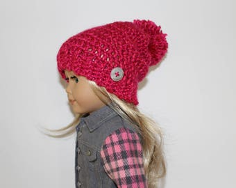 Crocheted rose slouchy beanie hat with pompom for 18 inch dolls such as  American Girl Doll