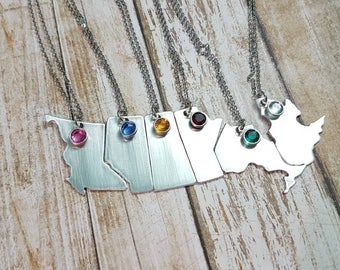 Canadian Province pendant hand stamped map with an optional location heart and swarovski crystal birthstone