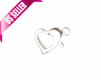 Heart shape Silver-plated brass lobster claw clasp 9x11mm sold per 10pcs