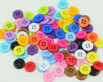 300 pcs Round Plastic Buttons,Small Plastic Buttons,Buttons For Child,11mm*11mm(143-8)