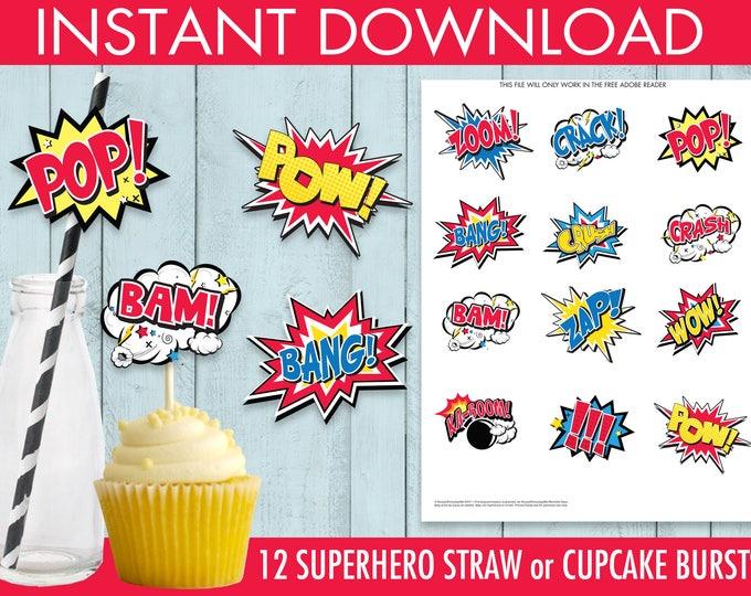 Superhero Straw Flag/Cutout Bursts, Superhero Party, Superhero Birthday, Straw Tags   DIY Instant Download PDF Printable
