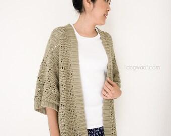 Summer Diamonds Kimono Cardigan, Crochet Pattern