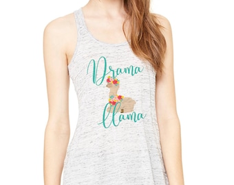 Drama Llama tank top - cute llama tank - sizes small-2xl - flowy tank - permanent eco friendly inks - machine washable