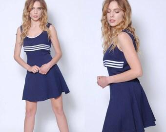 Vintage 80s NAUTICAL Dress SAILOR Dress 80s Mini Dress Summer Dress