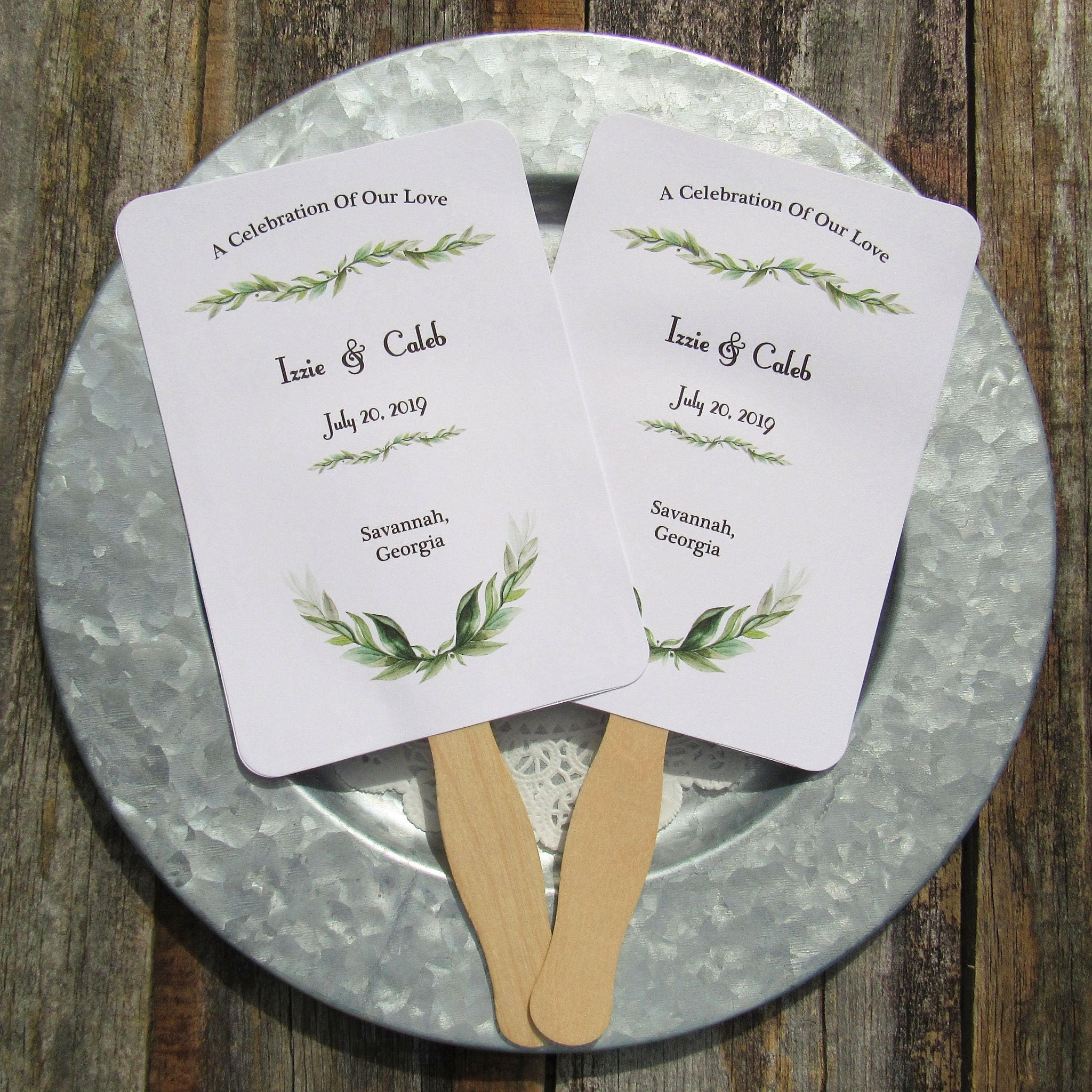 Greenery Wedding Wedding Fan Hand Fans Personalized