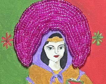 "Saint Dymphna Patron Saint of those who are Anxious 6""x6"" Original Painting Harlequin"