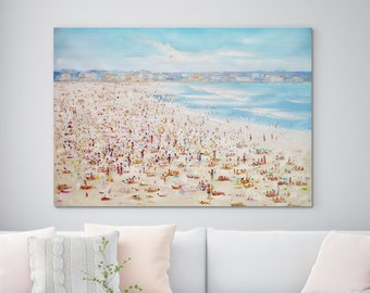 """Large Original Oil Painting, Seascape painting, Ocean painting, Blue, Beach scene, Wall Art, Canvas Art, Abstract, Summer Sunny 39"""" X 53"""""""