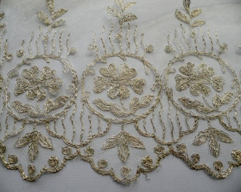 1920s Silver Metal Lace on tulle Old Store Stock
