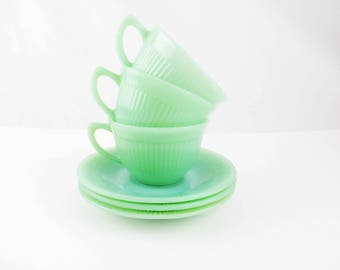 Three Sets of 'Jane Ray' Cups and Saucers - Jadeite Green - Fire-King Jadeite - Jadite Cups and Saucers - Fun Stuff