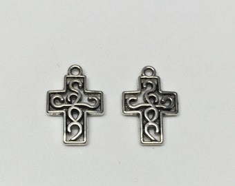 Silver Plated Cross Charms-2pc