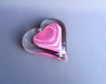 Hand Blown Art Glass Color Heart Paperweight