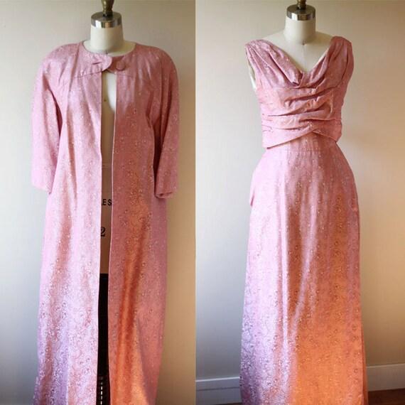 1950s sparkly pink dress set // 1950s cocktail gown // vintage dress