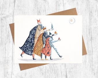 Three Kings   Illustrated Christmas Card   Pack of 6 Greetings Cards   Illustration   Festive   A6   Traditional