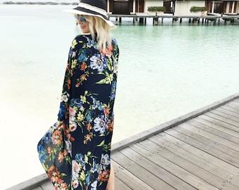 Navy Floral Maxi Kimono / Kaftan