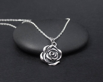 Rose Necklace Sterling Silver Rose Flower Necklace, Rose Charm Pendant, Nature Jewelry, Floral Jewelry, Boho Bohemian Jewelry