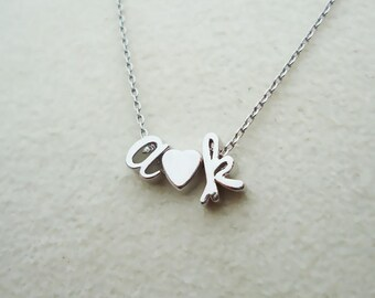 518.Silver color, Cursive lowercase Initial with heart charm Necklace,Letter Charm Necklace,Personalized Jewelry Gift,Custom necklace
