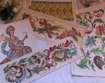 5 antique French cross stitch, embroidery templates, patterns. Journal des Demoiselles.
