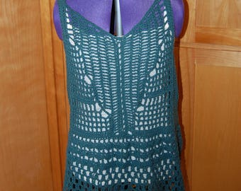 Crochet Tunic XX Large in Tanguis cotton and Linen