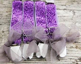 Glitter PURPLE Berry THIGH High Elastic GARTERS - Crocodile clips  onto lingerie - Custom garters with pretty shabby flowers or sheer bows