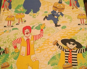 Mcdonalds Restaurant Kids Twin Flat Sheet From 1978 Childrens Bedding Made In Canada 50% Cotton Rare Characters