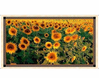 20 % off thru 5/31 Artworks 5-TUSCAN SUNFLOWER FIELD Fabric Panel Quilting Treasures- digital cotton print  23 by 44