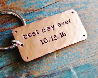Best Day Ever Anniversary Keychain, Personalized Date, Wedding Anniversary, Copper Gift, 7th Anniversary Gift, Mens Keychain, Husband Gift