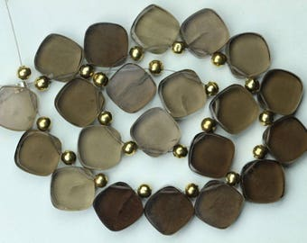 19 piece smooth SMOKY fancy beads 12 -- 13 mm approx