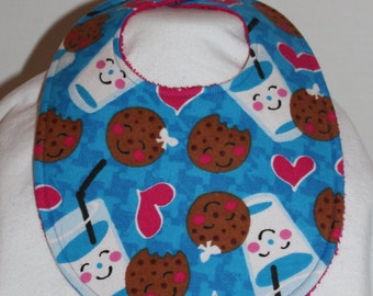 Milk and Cookies Blue Flannel / Terry Cloth Bib