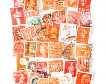 36 x orange, used postage stamps from 21 different countries, all off paper for collage, stamp collecting, crafting and scrapbooking