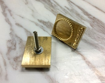 Customized Brass Stamp for leather Heat emboss & foil machine, with fix screw rod and nut