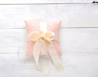 Baby Pink Ring Bearer Pillow with Ivory Bow