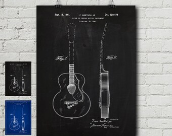 Guitar blueprint etsy gretch guitar patent request print acoustic electric fender gibson les paul vintage blueprint wall decor wall art cool gift malvernweather Choice Image