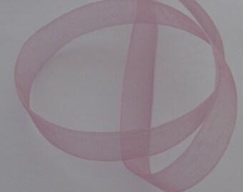 5 m organza Ribbon 12mm transparent old pink