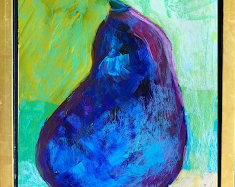 Claire McElveen Abstract Eggplant Painting Original One of a kind modern art Kitchen Art
