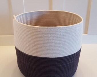 Extra Large Dyed Black and White Rope Basket
