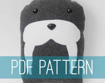 DIY Walrus Pattern Arctic Pillow Plush - Fleece Fabric Animal Plushie - Do It Yourself Craft for Children and Adults - Make Your Own Toy