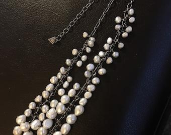 Silpada Pure splendor freshwater pearls cha cha necklace Retired adjustable 925