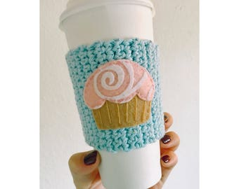Cupcake Knitted Coffee Cozy | Blue Coffee Cozy | Reusable Coffee Cozy | Eco-friendly
