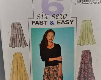 Butterick Pattern # 4136 Fast n Easy Petite Skirt Size 14-16-18