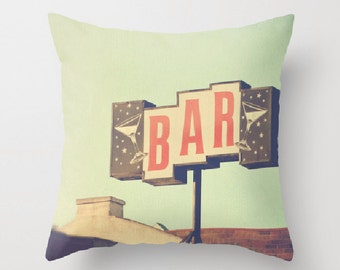 decorative throw pillow cover, 18x18 inch pillow cover, mint green red, bar chair cushion, cocktails, kitchen decor, LA mid century pillow