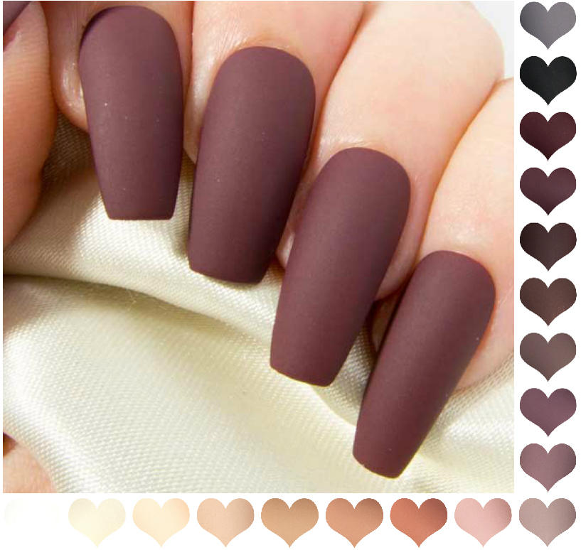 Coffin Fake Nails Matte Nude Press On Nails Burgundy False