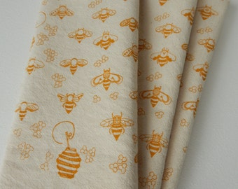 Cloth Napkins, Natural Cotton, Hand Printed, Bees, Set of 4, Choose Your Color