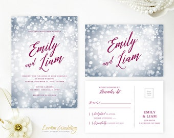 Dusty blue and burgundy wedding invitation bundle | Sparkle winter wedding invitation with RSVP card | Burgundy and silver wedding theme
