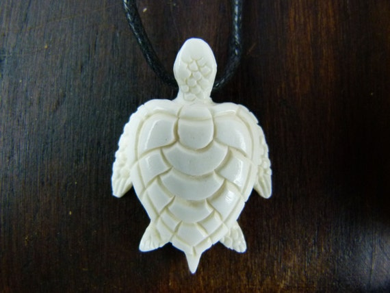 Sea turtle necklace white bone hand carved